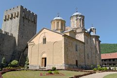 Monastery Manasija, 15th century, Serbia. Manasija  is a Serbian Orthodox monastery near Despotovac, Serbia, founded by Despot Stefan Lazarević between 1406 Royalty Free Stock Photo