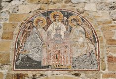 Mosaic above entrance to monastery Manasija, 15th century, Serbia. Manasija  is a Serbian Orthodox monastery near Despotovac, Serbia, founded by Despot Stefan Royalty Free Stock Photos
