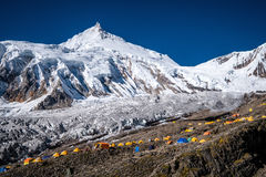 Manaslu base camp in the Himalaya mountains Stock Image
