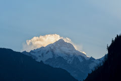 Manaslu peak, view from Chame, Annapurna Circuit Stock Photos