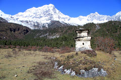 Manaslu and stupa Stock Photos