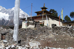 Manaslu and temple Royalty Free Stock Photo