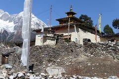 Manaslu and temple Royalty Free Stock Photo