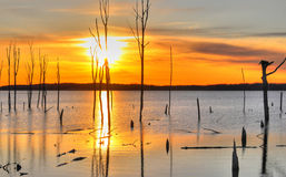 Manasquan reservoir. Sunrise over Manasquan reservoir NJ royalty free stock image