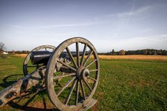 Manassas Battlefield cannon in morning light royalty free stock photo