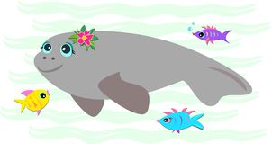Manatee calmo com peixes amigáveis ilustração royalty free