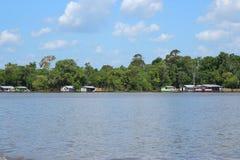 Manaus/Amazonas/Brasilien - 09/13/2018: Schwarzes und Amazonas-Fluss Unterschiedliche Art zwei des Wassers Touristische Anziehung stockbild