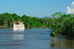 MANAUS, BR - CIRCA AUGUST 2011 - Boat on the Amazon river circa Royalty Free Stock Images