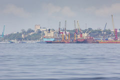 MANAUS, BRAZIL - OCTOBER 2013 : Industrial ship in Manaus harbor Stock Photography