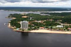 Manaus stadsamazon flod brazil Arkivfoto