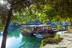 Manavgat river boats Royalty Free Stock Photo