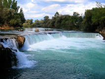 Manavgat Waterfall (Turkey). Manavgat Waterfall is located at 3 km (2 mi) north of Manavgat, Turkey Royalty Free Stock Photo