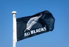 All Blacks Flag. Manawatu, New Zealand - July 29th 2017: All Blacks flag waving in the wind Stock Photo