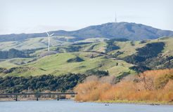 Manawatu River looking towards Wharite. And the wind turbines Stock Photo