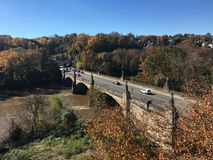 Manayunk green lane bridge over Schuylkill River. With blue stock photography