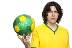 Manbaksida med den Brasilien ärmlös tröja royaltyfria foton