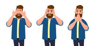 Manbeläggning synar, öron och munnen med händer som se som de tre kloka aporna Universitetslärare` t ser, hör universitetslärare` royaltyfri illustrationer