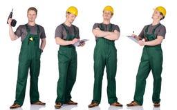 Manbyggnadsarbetare med anmärkningar Arkivbild
