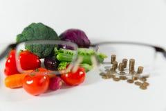 Mancanza di fondi su alimento, piccolo concetto di pensione Fotografie Stock