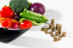 Mancanza di fondi su alimento salutare, pubblicità sociale Fotografia Stock