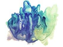 Mancha azul, ciana e amarela da aquarela Pintura abstrata imagem de stock