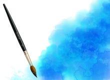 Mancha azul de la acuarela del vector con la brocha ilustración del vector