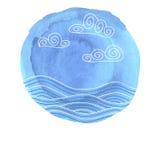 Mancha blanca /negra azul con el dibujo del mar Imagen de archivo