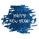 Mancha blanca /negra azul del chapoteo con el texto de la FELIZ AÑO NUEVO Foto de archivo libre de regalías
