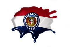 Mancha blanca /negra con la bandera del estado de Missouri foto de archivo