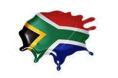 Mancha blanca /negra con la bandera nacional de Suráfrica Foto de archivo libre de regalías