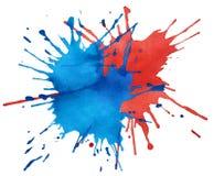 Mancha blanca /negra de la acuarela azul y roja Imagen de archivo