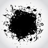 Mancha blanca /negra del negro de la música Foto de archivo