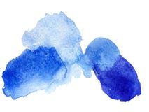 Mancha blanca /negra y chapoteo azules de la acuarela foto de archivo