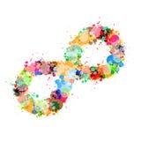 Mancha colorida del vector abstracto, símbolo del infinito del chapoteo Fotos de archivo libres de regalías