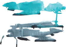 Mancha da aquarela azul esverdeado e escura - cores azuis em um CCB branco Imagens de Stock Royalty Free
