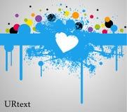 Mancha de óxido y pintura azules del corazón Foto de archivo