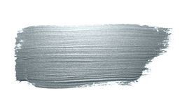 Mancha de brilho da solha da tinta do curso de prata da mancha ou do borrão da escova de pintura e do pincel abstrato com textura imagens de stock royalty free