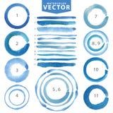 Mancha del círculo de la acuarela, línea cepillos Ciánico, azul Verano Foto de archivo