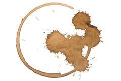 Mancha del café Aislado en blanco Imagen de archivo libre de regalías