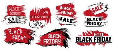 Mancha determinada del grunge de la venta de Black Friday Puntos blancos y rojos para el logotipo Imagen de archivo