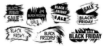Mancha determinada del grunge de la venta de Black Friday Puntos blancos y negros para el lo Foto de archivo