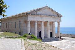 Mancha George de la iglesia ortodoxa en la fortaleza vieja de la ciudad de Corfú fotografía de archivo libre de regalías