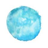 Mancha grande de la acuarela con textura de la pintura aislada en el fondo blanco Color saturado de la turquesa Contexto dibujado libre illustration