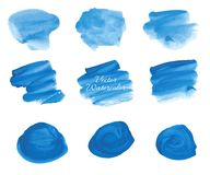 Manchas azuis da aquarela do vetor ajustadas Imagem de Stock