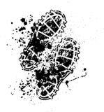 Manchas blancas /negras de la tinta de la impresión de los zapatos Imagenes de archivo