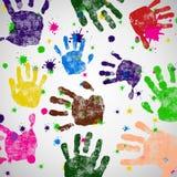 Manchas blancas /negras e icono coloreados de la impresión de la mano Imagenes de archivo