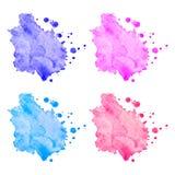Manchas coloridas da aquarela do vetor ajustadas Fotos de Stock Royalty Free