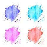 Manchas coloridas de la acuarela del vector fijadas Imagenes de archivo