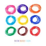 Manchas coloridas del círculo de marcador fijadas Imagen de archivo