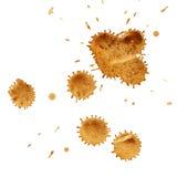 Manchas de óxido del café, arriba detalladas. Foto de archivo